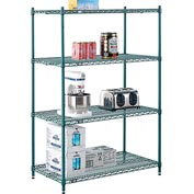 "Nexel® Green Epoxy Wire Shelving, 42""W X 24""D X 63""H"