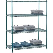 "Nexel® Green Epoxy Wire Shelving, 48""W X 24""D X 63""H"
