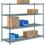 "Nexel® Green Epoxy Wire Shelving, 72""W X 24""D X 63""H"