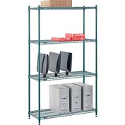 "Nexel® Green Epoxy Wire Shelving, 42""W X 18""D X 74""H"