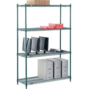 "Nexel® Green Epoxy Wire Shelving, 48""W X 18""D X 74""H"
