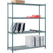 "Nexel® Green Epoxy Wire Shelving, 60""W X 18""D X 74""H"