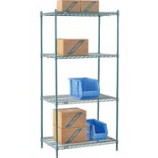 "Nexel® Green Epoxy Wire Shelving, 36""W X 24""D X 74""H"