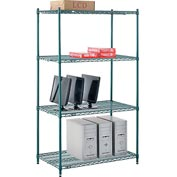 "Nexel® Green Epoxy Wire Shelving, 42""W X 24""D X 74""H"