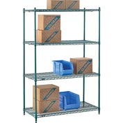 "Nexel® Green Epoxy Wire Shelving, 48""W X 24""D X 74""H"