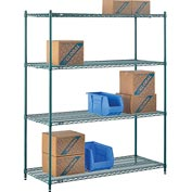 "Nexel® Green Epoxy Wire Shelving, 60""W X 24""D X 74""H"