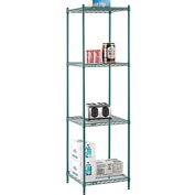 "Nexel® Green Epoxy Wire Shelving, 24""W X 24""D X 86""H"