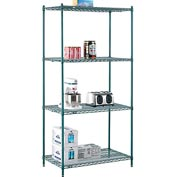 "Nexel® Green Epoxy Wire Shelving, 42""W X 24""D X 86""H"