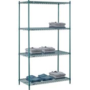 "Nexel® Green Epoxy Wire Shelving, 48""W X 24""D X 86""H"