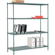 "Nexel® Green Epoxy Wire Shelving, 72""W X 24""D X 86""H"