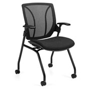 Global™ Mesh Back Nesting Chair - Fabric -  Black - Roma Series