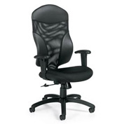 Global™ Tye - High Back Tilter, Mesh/Fabric Back, - Black Upholstered Seat