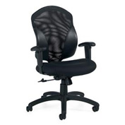 Global™ Tye - Medium Back Tilter, Mesh/Fabric Back,- Black Upholstered Seat