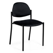 Global™ Comet - Fabric Upholstered Armless Stacking Chair - Black Fabric Upholstery