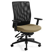 Global™ Weev Medium Mesh Back Multi-Tilter Chair Black with Dark Sand Fabric Seat
