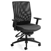 Global™ Weev Medium Mesh Back Multi-Tilter Chair Black with Granite Rock Fabric Seat
