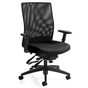 Global™ Weev Medium Mesh Back Multi-Tilter Chair Black with Black Coal Fabric Seat