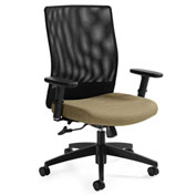 Global™ Weev Medium Mesh Back Tilter Chair Black with Dark Sand Fabric Seat