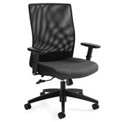 Global™ Weev Medium Mesh Back Tilter Chair Black with Granite Rock Fabric Seat