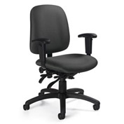 Global™ Goal - Low Back Pneumatic Multi - Tilter w/Arms - Stone Fabric Upholstery
