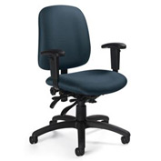 Global™ Goal - Low Back Pneumatic Multi - Tilter w/Arms - Ocean Fabric Upholstery