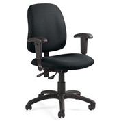 Global™ Goal - Low Back Pneumatic Operator w/Arms - Stone Fabric Upholstery