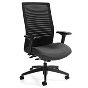 Global™ Loover High Mesh Back Weight Sensing Synchro-Tilter Chair Black w/ Granite Rock Seat