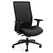 Global™ Loover High Mesh Back Weight Sensing Synchro-Tilter Chair Black w/ Black Coal Seat