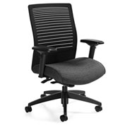 Global™ Loover Mid Mesh Back Weight Sensing Synchro-Tilter Chair Black w/ Granite Rock Seat