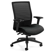 Global™ Loover Mid Mesh Back Weight Sensing Synchro-Tilter Chair Black w/ Black Coal Seat
