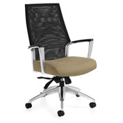 Global™ Accord Mesh High Back Tilter Chair Black with Dark Sand Fabric Seat