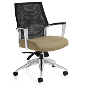 Global™ Accord Mesh Mid Back Tilter Chair Black with Dark Sand Fabric Seat