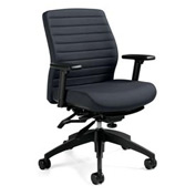 Global™ Office Chair with Ribbed Back - Fabric - Mid Back - Gray - Aspen Series