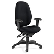 Global™ Malaga - High Back Multi - Tilter With Arms - Black Fabric Upholstery