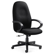 Global™ Enterprise - High Back Tilter With Fixed Loop Arms - Black Fabric Upholstery