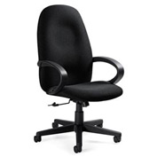 Global™ Enterprise - High Back Tilter With Fixed Loop Arms - Grey Fabric Upholstery