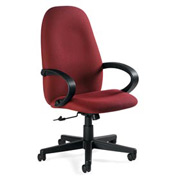Global™ Enterprise - High Back Tilter With Fixed Loop Arms - Burgundy Fabric Upholstery