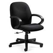 Global™ Enterprise - Low Back Tilter With Fixed Loop Arms - Grey Fabric Upholstery