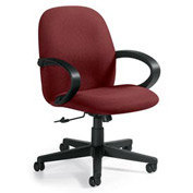 Global™ Enterprise - Low Back Tilter With Fixed Loop Arms - Burgundy Fabric Upholstery