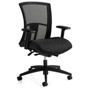 Global™ Mesh Back Chair w/ Weight Sensing Tilt - Fabric - Mid Back - Black - Vion Series