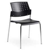 Global™ Armless Stacking Chair - Plastic - Black - Sonic Series