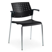 Global™ Stacking Chair with Arms - Plastic - Black - Sonic Series