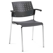 Global™ Sonic Molded Seat Poly Stacking Chair With Arms Platinum