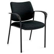 Global™ Sidero Guest Chair with Arms Black Coal Fabric