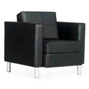 Global™ Citi - Lounge Chair - Leather Upholstered - Black/Black