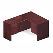 "Global™ L Desk - 60"" - Quartered Mahogany - Genoa Series"