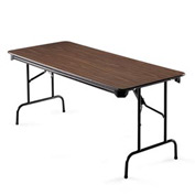 "Global™ Rectangular Folding Table - 72""W x 30""D Walnut"