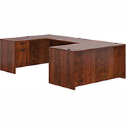 "Offices To Go™ U Desk with Single Pedestal - 66"" - American Dark Cherry - Bundle #1"