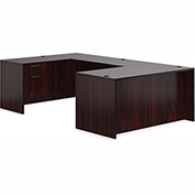 "Offices To Go™ U Desk with Single Pedestal - 66"" - American Mahogany - Bundle #1"