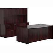 "Offices To Go™ Wood Desk & Credenza with Hutch - 71"" - American Mahogany - Bundle #10"